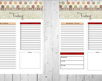 A5 Printable Daily Planner, To Do List, Organizer, Daily Meals
