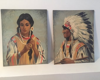 Vintage native chief and maiden oil on board