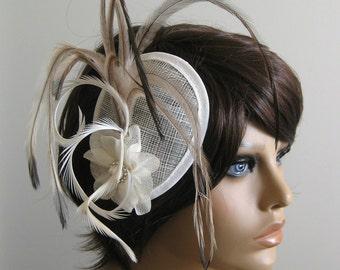 OOAK Romantic flower feather headpiece ivory  brown fascinator bridal wedding