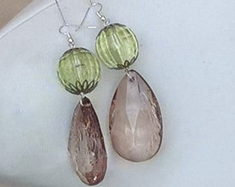 STUPENDOUS EARRINGS with green and unusual coloured crystal droplets. Made fro recycled materials.