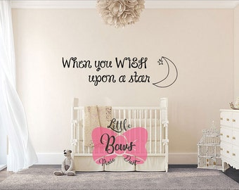 When you wish upon a star nursery decal wall decal nursery art custom lettering custom decal custom vinyl custom wall decal