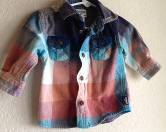 Baby Grunge Distressed Flannel Shirt Bleached Dyed