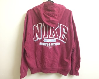Vintage Nike Hoodie Sportwear Full Zipper/Large/Embroidery Logo/Spell Out