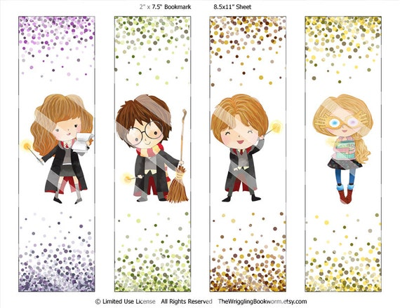 Top Printable Harry Potter Bookmark Set Hermione Granger Ron PI79