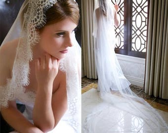 Bridal Wedding White or Ivory 3M Long Cathedral Veil With Lace Edge