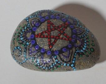 Pentacle Painted Altar Rock