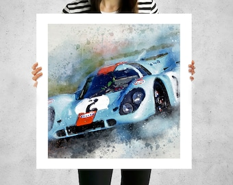 Porsche 917k Gulf, classic sport cars, canvas art work, wall art panels, high end sports cars, wall paintings for living room