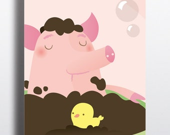 Nursery art, Art poster, Girl Nursery art, Childrens room art, Art print, Vector art, Pig poster, Piggy bath, Poster kinderkamer