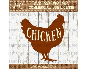 Chicken SVG Hen with CHICKEN SVG -farm svg-farmhouse-Commercial Use svg dxf eps png-digital file-cut file-butcher svg-chicken decor-chickens