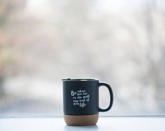 Mindful Black Cork Bottom Mug
