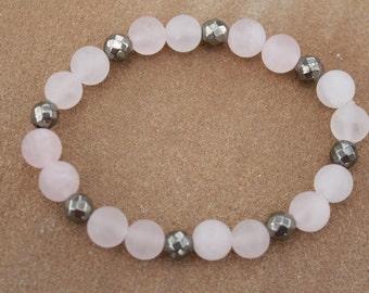 Rose Quartz and Pyrite Bracelet