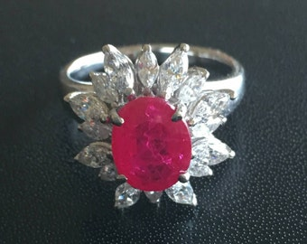 3ct red oval and marquise sterling silver 925 ring