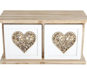 Shabby chic double drawers with gold hearts