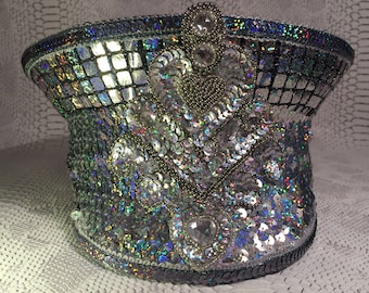 Silver stunning holographic sequin military hat for Burning Man / Party / Festivals - Size 54