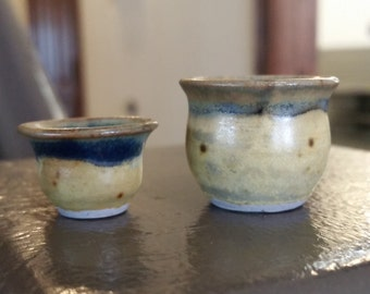 Two Tiny Yellow and Blue Vases