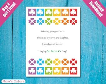 St. Patrick's Day Card Buy 2 Get 1 FREE, St. Patrick's Day Good Luck, St. Patrick's Day Printable Card A2, DIY Rainbow St Patrick's Card