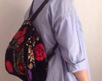Handmade Suzani Backpacks Leather Straps, Bohemian bag  Vintage Bag Embroidery bag Handbag Boho Bag Gypsy Bag