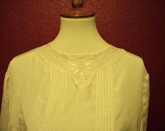 Vintage White Silken Button-Back Blouse