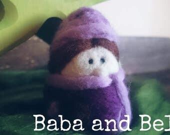 Little Dwarf Lady ~ Purple Waldorf needle felted doll