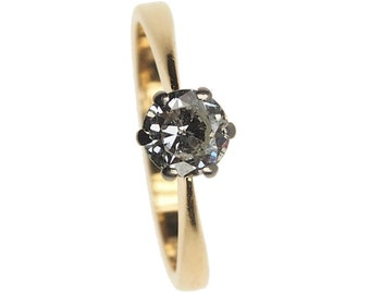 Vintage Engagement Ring - Diamond Solitaire set in 18 ct. Gold, Platinum - London, England 1986