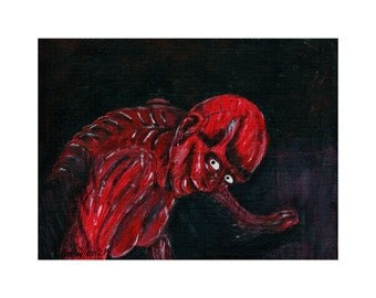 """Hellraiser II Skinless Julia """"Don't Be Scared of Me"""" Painting"""