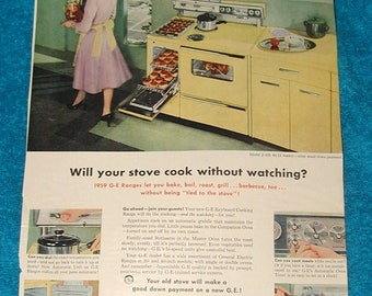 General electric 1959 GE Electric ranges cooking retro kitchen vintage wall hanging picture appliance stove