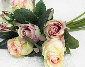 "Luxury Silk 9 Rose Bouquet in White 11"" Tall"