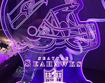 Seattle Seahawks 3D Night Lamp, 3D Night Light Children Light Home Decor Illusion light
