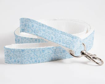 Ocean/Seahorse/Fish Patterned Dog/Cat Leash-Ocean/Summer PatternedTextile Leash