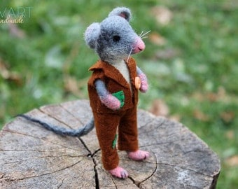 Dress-undress Mouse Needle Felting Hand Waldorf doll Sewed Felt Costume