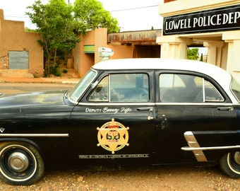 Vintage Police Cop Car Vehicle in Lowell Arizona Old Cars Vintage Cars Bisbee Arizona Law Enforcement 8 x 10 Quality Photograph Home Decor