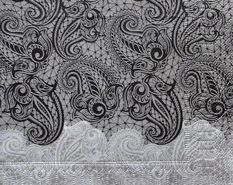 2 x Paisley Pattern Napkin, Decoupage Napkin, Black and White Napkin, Printed Paper Napkin, Party Napkins, Lunch Napkins (PAISLEY)
