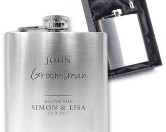 Personalised engraved GROOMSMAN hip flask wedding thank you gift idea, stainless steel presentation box - SW3