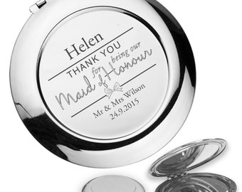 Personalised engraved MAID OF HONOUR compact mirror wedding thank you gift idea, handbag mirror - BW3