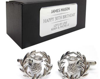 Scottish thistle CUFFLINKS 30th, 40th, 50th, 60th, 70th birthday gift, presentation box PERSONALISED ENGRAVED plate - 214