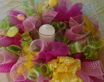 Mesh Easter centerpiece.  Hot pink, lime green, yellow and light pink.
