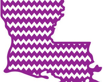 Louisiana State Outline Chevron Print Decal Car Vinyl Decal