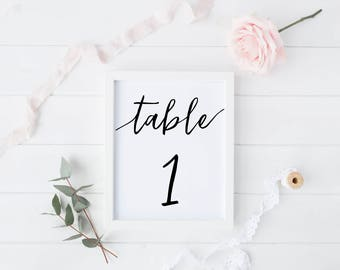 Wedding Table Numbers, Wedding Table Number Printable, Minimalist Table Numbers, Calligraphy Table Number, Printable Calligraphy, Modern