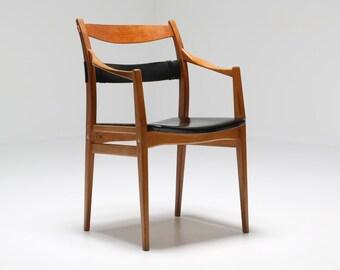 Mid-century Swedish Oak & Leather sculptural armchair