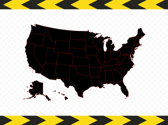 Usa Map Svg Files For Cricut Silhouette United States 50