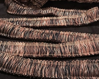 Brown, Black and Gold Brushed Fringe Trim BY THE YARD