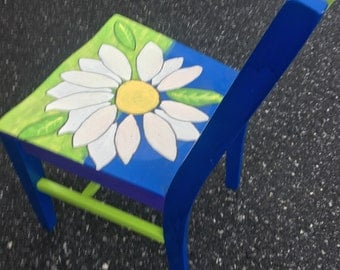 Hanpainted Wooden Desk Chair