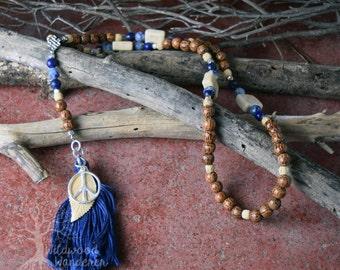 Peace Prayer & Meditation Bead Neacklace - Riverstone, Lapis, Sodalite, Bone, Chakra