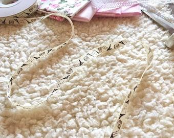 1m cream, vintage ribbon with paris print, cardmaking ribbon, craft tape, paris pattern