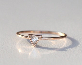 Triangle diamond wedding bands, 925 silver Triangle Gold with Diamond Ring, Rose Gold Engagement Ring, Triangle Diamond Ring, ROSE GOLD Tria