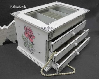 Jewelry box white shabby chic decorated with glass and 3 drawers with ornaments Rose Holz