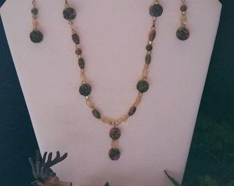 Stone Medicine Jewelry SNE98 Unakite & Citrine