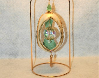 Victorian Inspired Decorated Goose Egg Decorated with Light Emerald, and Peridot Austrian Crystal, and AB Faceted Ball