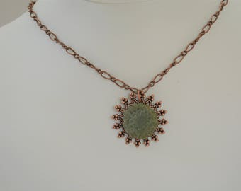 Green Floral Necklace on Antique Copper Chain