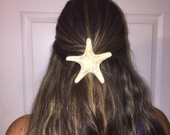 Starfish hair clip- White Starfish Barrette- Mermaid hair clip